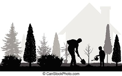 Father and son plant tree near the house in the garden silhouettes. Vector illustration