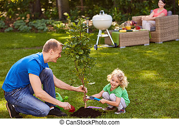 Father and son planting tree