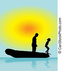Father and son play in boat