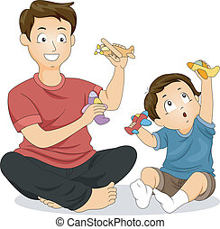Illustration of a Father and His Young Son Playing with Toy Airplanes