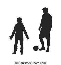 Father and son playing football. Vector silhouette
