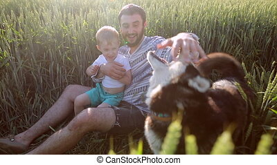 Father and son playing with a dog on the wheat field. Father's Day Family concept