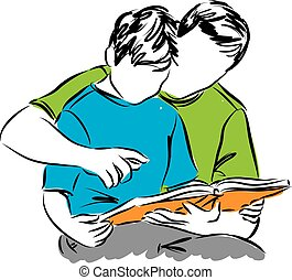 father and son reading a book illus