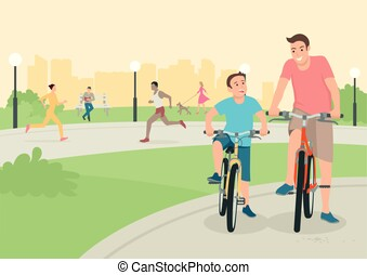 Father and son riding bicycle in the city park