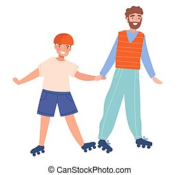 Father and son rollerblading. Concept family time together, relationship. Cartoon colorful vector illustration with fictional characters