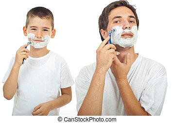 Father and son shaving - Father shaving in the mirror and...