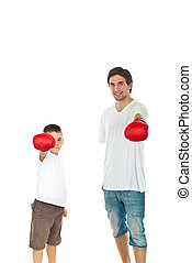 Father and son showing boxing gloves