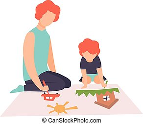Father and Son Sitting on Floor and Painting Picture with Paints and Brush, Dad and Little Son Spending Good Time Together Vector Illustration