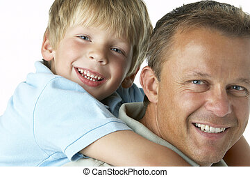 Father And Son Smiling