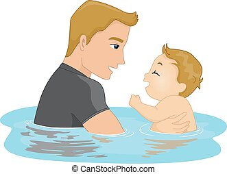 Father and Son Swim - Illustration Featuring a Father and...