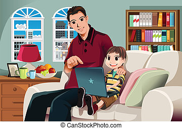 A vector illustration of a father and his son using a computer in the living room