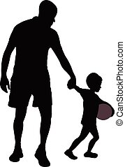father and son walking,