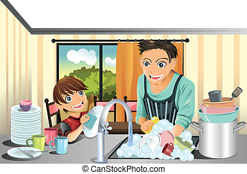 Father and son washing dishes - A vector illustration of a...