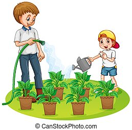 Father and son watering the plants in the garden