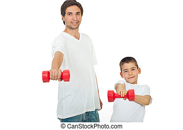 Father and son with barbell