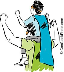 father and son with cape of super hero vector illustration