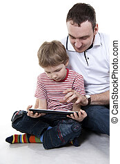 Father and son with the computer.