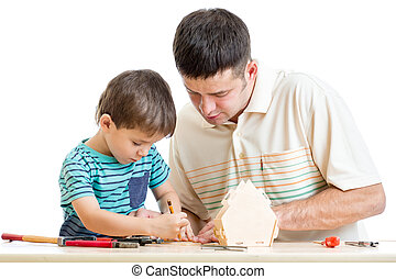 Father and son work together