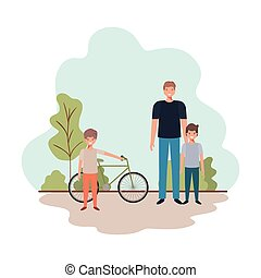 father and sons with bicycle in landscape