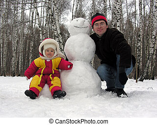 father, baby,snowman - father, baby, snowman