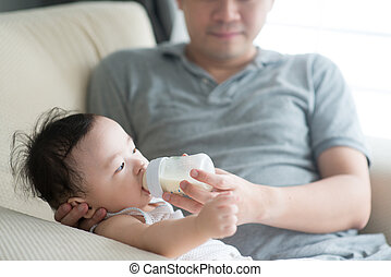 Father bottle feed milk to child.