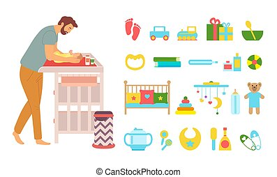 Father care for kid vector, newborn baby laying on special table for changing diapers, cradle and horse, bowl with spoon and toys plush bear and car, concept for Father day