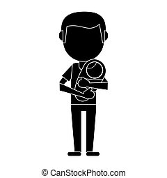 father carrying baby newborn pictogram