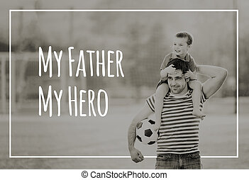 Father carrying son on his shoulders. Fathers day concept.