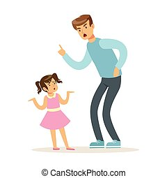 Father character scolding his daughter vector Illustration...