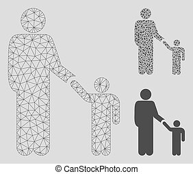 Father Child Vector Mesh 2D Model and Triangle Mosaic Icon