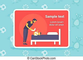 father cleaning up his baby son buttocks with wet napkin young man changing baby's diaper fatherhood childcare hygiene concept full length horizontal copy space