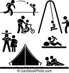 A set of pictogram representing parenthood.