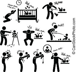 A set of pictogram representing bad experiences of fatherhood.