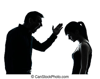 father daughter dispute conflict - one man and teenager girl...
