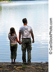 Father daughter lake