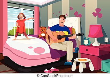A vector illustration of Father playing guitar while her daughter dancing in bedroom