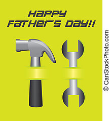 father day card with tool over green background. vector
