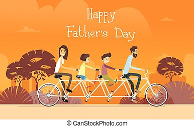 Father Day Holiday, Family Ride Tandem Bicycle Flat Vector...