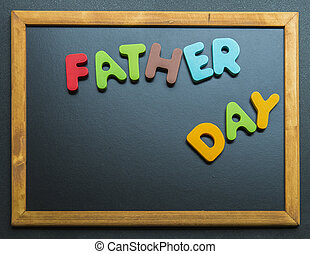 Father day wooden word on black board2