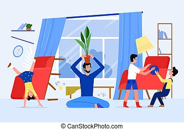Father family time with children at home vector illustration, cartoon flat dad character relaxing in yoga lotus asana, while naughty kids playing