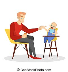 Father feed his baby son sitting on the chair