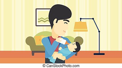 Father feeding baby.