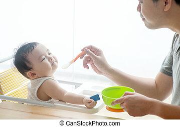 Father feeding baby food.