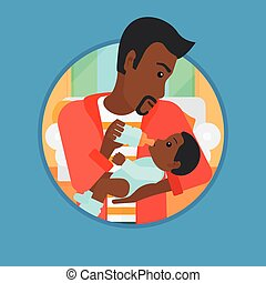 Father feeding baby vector illustration. - African-american...