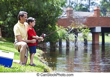 Father Fishing With His Son On A RIver