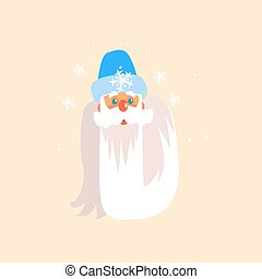 Father Frost Christmas Portrait, Vector Illustration
