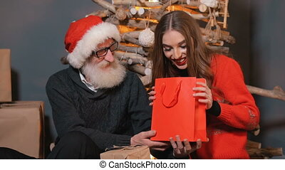 Father Gives Christmas Gift to Daughter