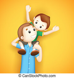Father giving Boy Piggy Back Ride - illustration of father...