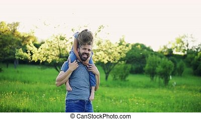Father giving small daughter a piggyback ride in spring...