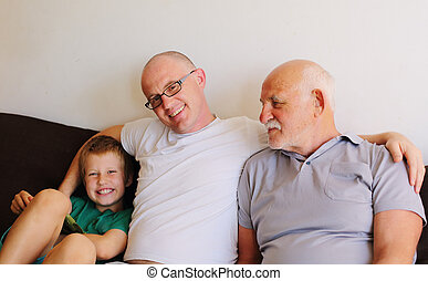 father, grandfather and son
